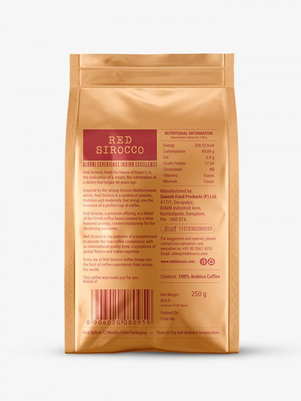 Red Sirocco Coffee Italia Roast back