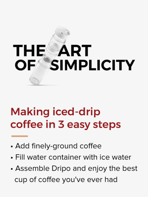 Dripo making iced drip coffee in 3 easy steps